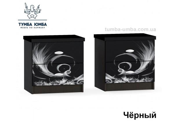 Фото красивые прикроватные тумбочки в спальню Ева лакированный фасад черный цвет с ящиками дешево от производителя с доставкой по всей Украине