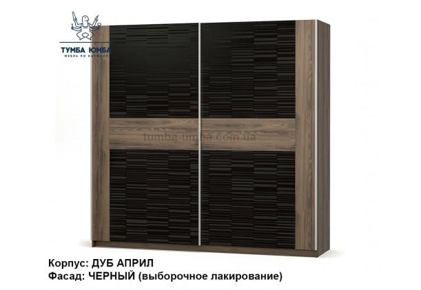 Фото недорогой готовый стандартный шкаф-купе Фиеста в цвете Дуб Април / Лак чёрный ДСП для одежды дешево от производителя Мебель-Сервис с доставкой по всей Украине в интернет-магазине TUMBA-UMBA™
