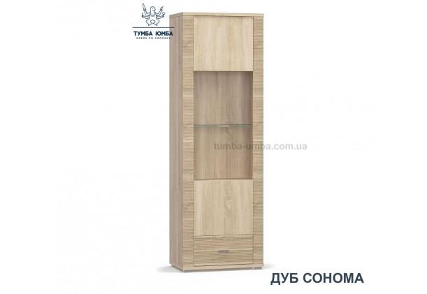 Фото недорогой стандартный мебельный распашной пенал-витрина со стеклянной дверцей Гресс 1В1Ш ДСП с полками для дома и офиса в цвете дуб сонома дешево от производителя с доставкой по всей Украине в интернет-магазине TUMBA-UMBA™