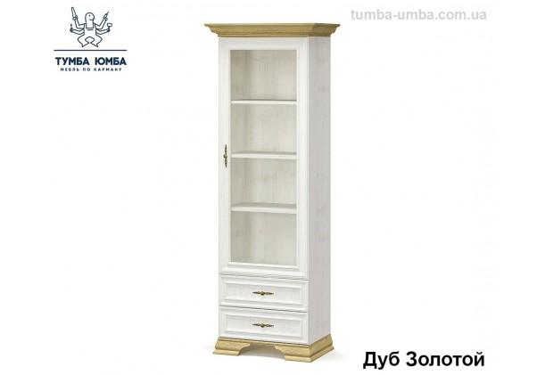 Фото недорогой стандартный мебельный распашной пенал-витрина со стеклянной дверцей Ирис 1В2Ш ДСП с полками и ящиками для дома и офиса в цвете белый и дуб золотой дешево от производителя с доставкой по всей Украине в интернет-магазине TUMBA-UMBA™