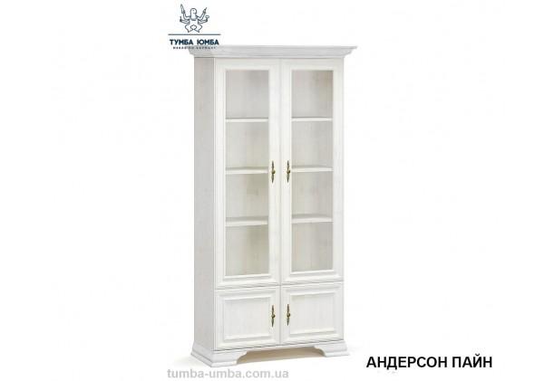 Фото недорогой стандартный мебельный распашной шкаф-витрина со стеклянной дверцей Ирис 2В2Д ДСП с полками для дома и офиса в цвете белый дешево от производителя с доставкой по всей Украине в интернет-магазине TUMBA-UMBA™