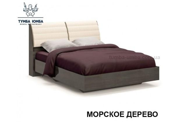 фото стандартная двуспальная кровать Лондон с мягким изголовьем  160 см в спальню в цвете морское дерево дешево от производителя с доставкой по всей Украине