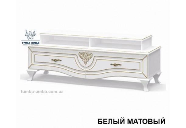 Фото недорогая современная напольная тумба под телевизор и аппаратуру Милан ДСП в белом цвете дешево от производителя Мебель-Сервис с доставкой по всей Украине в интернет-магазине TUMBA-UMBA™