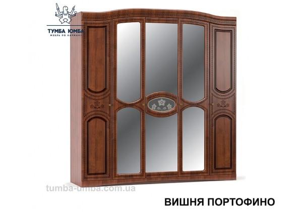 Фото недорогой готовый стандартный платяной Шкаф 5Д Милано цвет Вишня Портофино МДФ для одежды с зеркалами дешево от производителя с доставкой по всей Украине в интернет-магазине TUMBA-UMBA™