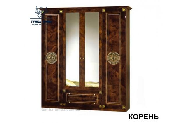 Фото недорогой готовый стандартный платяной Шкаф 4Д Рома цвет Корень лак ДСП для одежды с зеркалами дешево от производителя с доставкой по всей Украине в интернет-магазине TUMBA-UMBA™