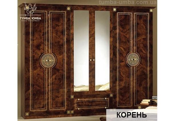 Фото недорогой готовый стандартный платяной Шкаф 6Д Рома цвет Корень лак ДСП для одежды с зеркалами дешево от производителя с доставкой по всей Украине в интернет-магазине TUMBA-UMBA™