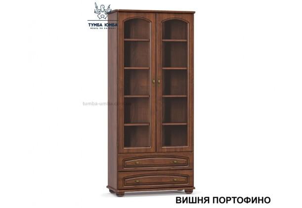 Фото недорогой стандартный мебельный распашной пенал-витрина 2В2Ш со стеклянной дверцей Салма с полками для дома в цвете Вишня Портофино МДФ дешево от производителя Мебель-Сервис с доставкой по всей Украине в интернет-магазине TUMBA-UMBA™