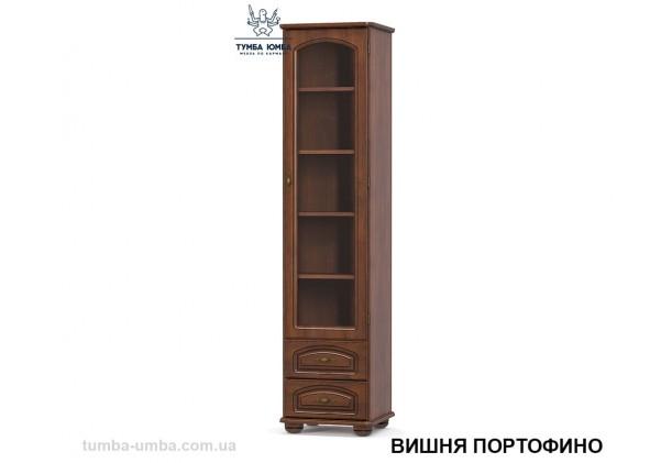Фото недорогой стандартный мебельный распашной пенал-витрина 1В2Ш со стеклянной дверцей Салма с полками для дома в цвете Вишня Портофино МДФ дешево от производителя Мебель-Сервис с доставкой по всей Украине в интернет-магазине TUMBA-UMBA™