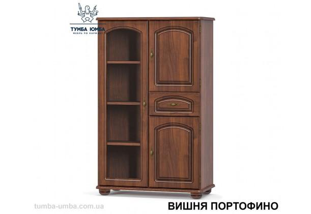 Фото недорогой стандартный мебельный распашной комод-витрина 1В2Д1Ш со стеклянной дверцей Салма с полками для дома в цвете Вишня Портофино МДФ дешево от производителя Мебель-Сервис с доставкой по всей Украине в интернет-магазине TUMBA-UMBA™