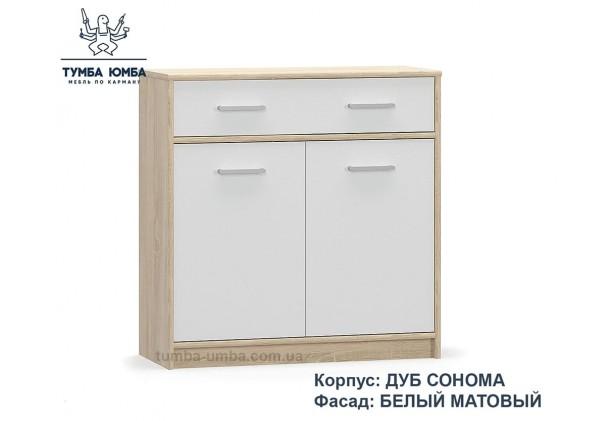Фото недорогой современный комод Типс 2Д1Ш ДСП цвет дуб сонома/белый дешево от производителя с доставкой по всей Украине в интернет-магазине TUMBA-UMBA™