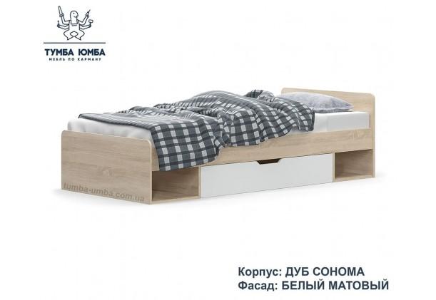 фото односпальная кровать Типс-90 см в цвете дуб сонома/белый дешево от производителя Мебель Сервис с доставкой по всей Украине в интернет-магазине Тумба Юмба.