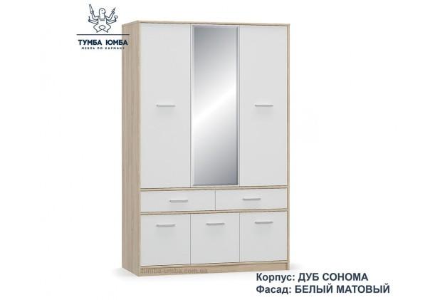 Фото недорогой готовый стандартный Шкаф 6Д2Ш Типс цвет дуб сонома/белый ДСП для одежды с зеркалами дешево от производителя с доставкой по всей Украине в интернет-магазине TUMBA-UMBA™