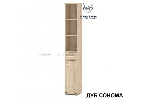 Фото недорогой стандартный мебельный распашной пенал Трио ДСП с полками для дома и офиса в цвете дуб сонома дешево от производителя с доставкой по всей Украине
