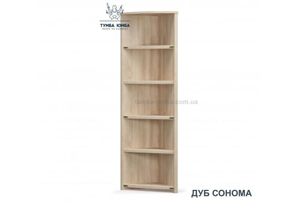 Фото недорогой стандартный мебельный открытый угловой пенал Валенсия ДСП с полками для дома и офиса в цвете дуб сонома дешево от производителя с доставкой по всей Украине
