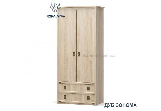 Фото недорогой стандартный шкаф для одежды Валенсия 2Д1Ш ДСП для дома и офиса в цвете дуб сонома дешево от производителя с доставкой по всей Украине в интернет-магазине TUMBA-UMBA™