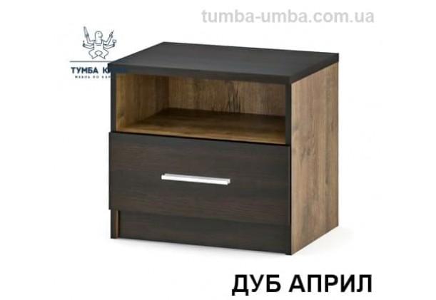 Фото недорогие прикроватные тумбочки в спальню Вероника в современном стиле цвет ДСП дуб април со вставками с ящиком дешево от производителя с доставкой по всей Украине в интернет-магазине TUMBA-UMBA™