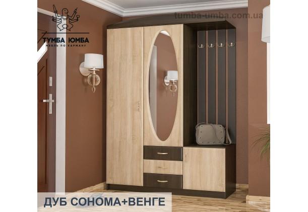Фото готовая прихожая Вита-2 со шкафом и зеркалом в коридор в цвете венге и дуб сонома дешево от производителя с доставкой по всей Украине