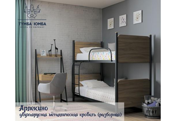 фото  в интерьере стандартная двухъярусная кровать Арлекино Металл-Дизайн в спальню, на дачу или в гостиницу дешево от производителя с доставкой по всей Украине