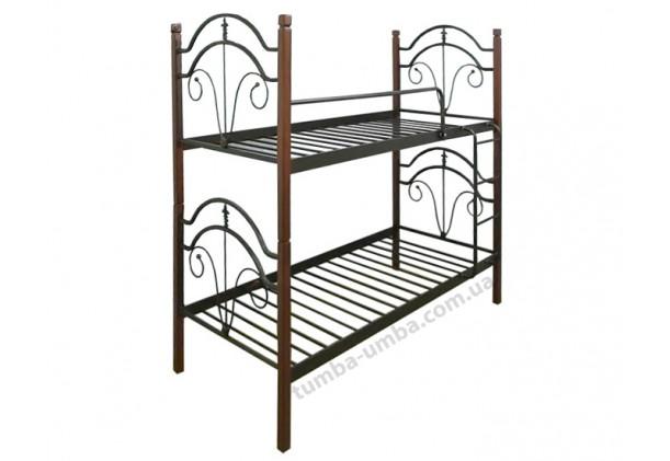 Двухъярусная металлическая кровать Диана на деревянных ногах