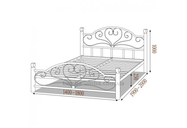 Кровать металлическая Джоконда на деревянных ногах