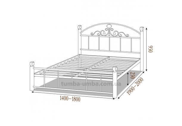 Кровать металлическая Кассандра на деревянных ногах