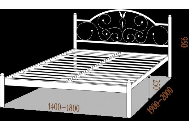 Кровать металлическая Анжелика на деревянных ногах