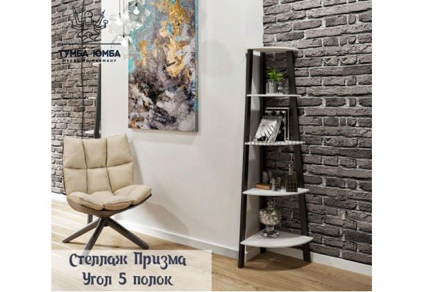 фото недорогой угловой стеллаж 5 полок серия Призма для книг в гостинную, над столом, кухню или прихожую в интернет-магазине мебели эконом-класса TUMBA-UMBA™