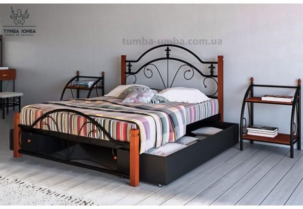Кровать металлическая Диана на деревянных ногах