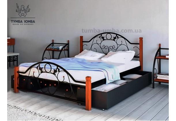 фото стандартная металлическая кровать Франческа на деревянных ногах Металл-Дизайн в спальню, на дачу или в гостиницу дешево от производителя с доставкой по всей Украине