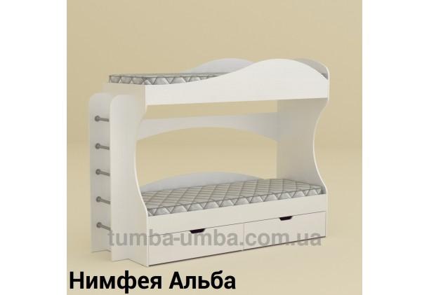 Фото двухместная кровать для детей Бриз Компанит с бортиками и ящиками в цвете Нимфея Альба (белый структурный) дешево от производителя с доставкой по всей Украине