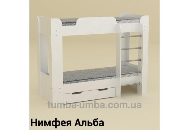 Фото двухместная кровать для детей Твикс-2 Компанит с бортиками и ящиками в цвете Нимфея Альба (белый структурный) дешево от производителя с доставкой по всей Украине