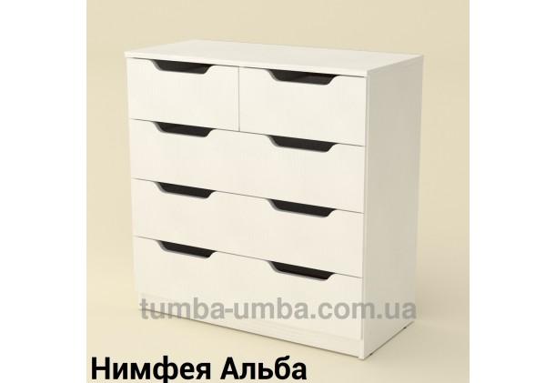 Фото недорогой современный комод 2+3М, 5 глубоких ящиков Компанит цвет Нимфея Альба (белый структурный) в интернет-магазине TUMBA-UMBA™ Украина