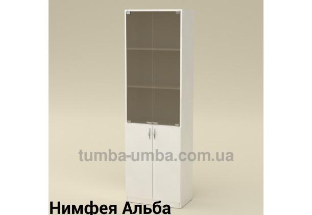 Фото недорогой стандартный мебельный распашной пенал КШ-6 ДСП с полками для дома и офиса в цвете Нимфея Альба (белый структурный) дешево от производителя с доставкой по всей Украине