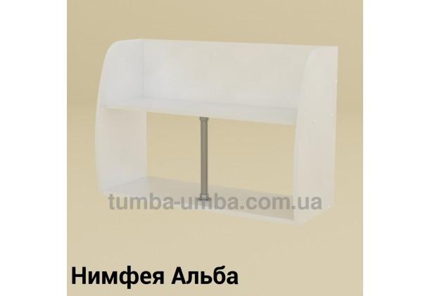 фото недорогая настенная полка-11 ДСП Компанит цвет Нимфея Альба (белый структурный) для книг в гостинную, над столом, кухню или прихожую в интернет-магазине мебели эконом-класса TUMBA-UMBA™