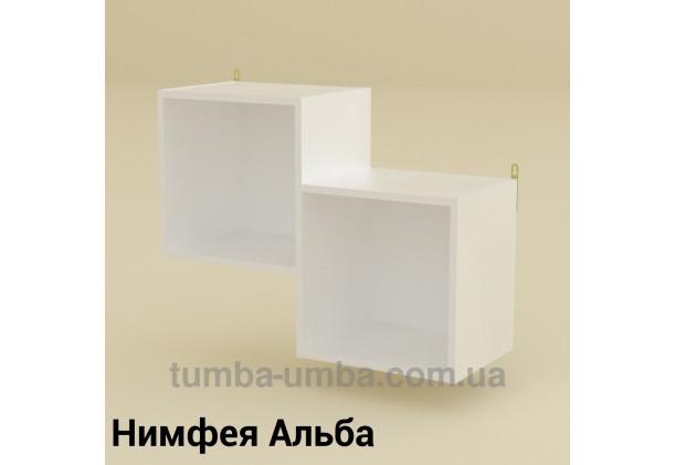 фото недорогая настенная полка-2 ДСП Компанит цвет Нимфея Альба (белый структурный) для книг в гостинную, над столом, кухню или прихожую в интернет-магазине мебели эконом-класса TUMBA-UMBA™