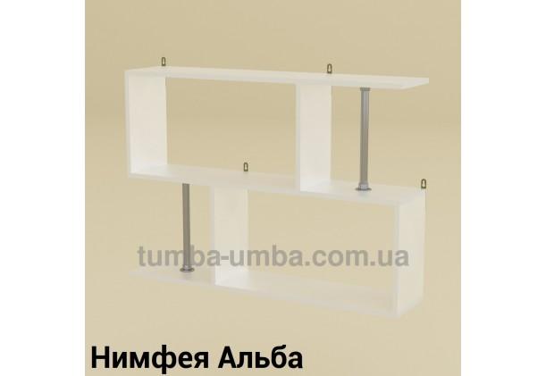 фото недорогая настенная полка-9 ДСП Компанит цвет Нимфея Альба (белый структурный) для книг в гостинную, над столом, кухню или прихожую в интернет-магазине мебели эконом-класса TUMBA-UMBA™