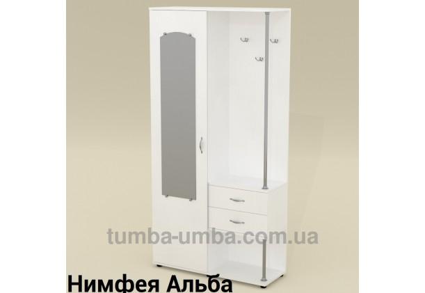 Фото готовая прихожая Надежда со шкафом и зеркалом в коридор в цвете Нимфея Альба (белый структурный) дешево от производителя с доставкой по всей Украине