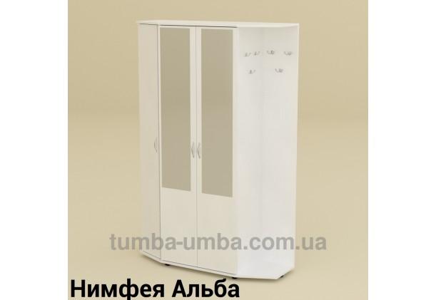 Фото готовая прихожая Виктория со шкафом и зеркалом в коридор в цвете Нимфея Альба (белый структурный) дешево от производителя с доставкой по всей Украине