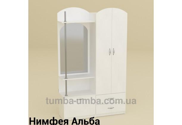 Фото готовая прихожая Валентина со шкафом и зеркалом в коридор в цвете Нимфея Альба (белый структурный) дешево от производителя с доставкой по всей Украине