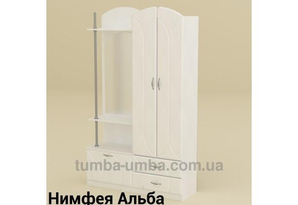 Фото готовая прихожая Валентина МДФ со шкафом и зеркалом в коридор в цвете Нимфея Альба (белый структурный) дешево от производителя с доставкой по всей Украине