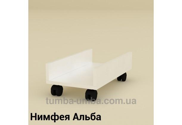 Фото мобильная офисная подставка МП-1 под системный блок на колесиках для ПК в кабинет в цвете Нимфея Альба (белый структурный) дешево от производителя с доставкой по всей Украине