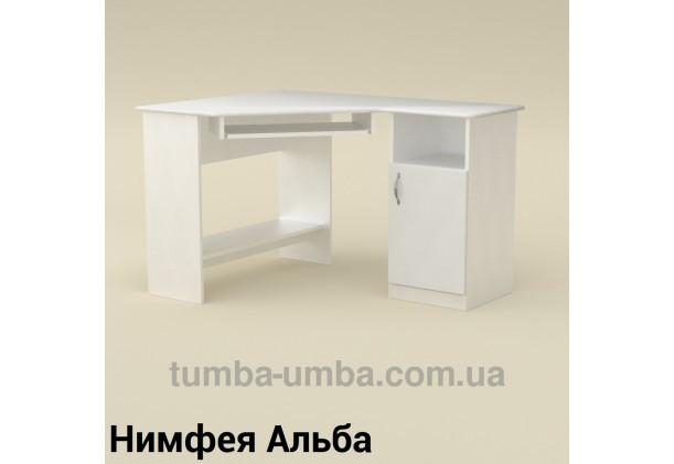 Фото готовый угловой стандартный стол СУ-13 МДФ в офис или домой для ноутбука или ПК в цвете Нимфея Альба (белый структурный) дешево от производителя с доставкой по всей Украине