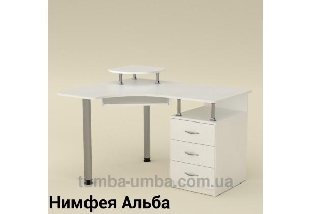 Фото готовый угловой стандартный стол СУ-2 в офис или домой для ноутбука или ПК в цвете Нимфея Альба (белый структурный) дешево от производителя с доставкой по всей Украине