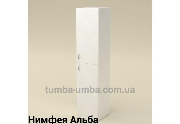Фото недорогой стандартный мебельный распашной пенал КШ-13 ДСП с полками для дома и офиса в цвете Нимфея Альба (белый структурный) дешево от производителя с доставкой по всей Украине